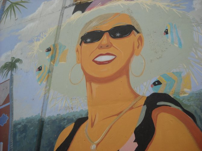 Starry-eyed mural along tunnel wall at Del Mar Fairgrounds.