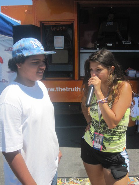 Michael Pasapara, 15 of City Heights, CA plays true or false game with Truth crew member Daniella Sloane at Vans Warped Tour. Truth Tour Stops in San Diego.