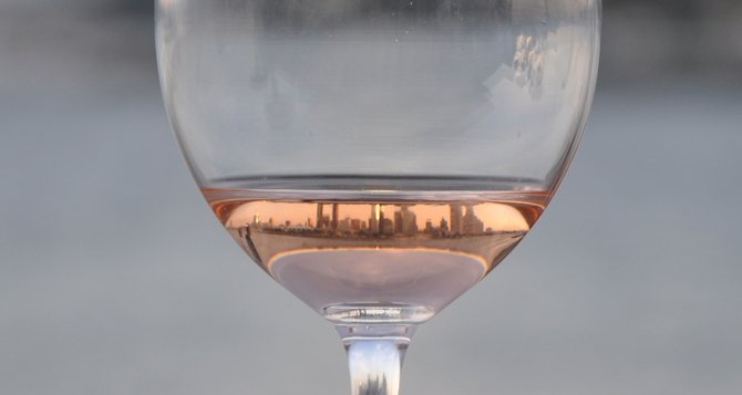Downtown San Diego through a wine glass. This picture was taken from Coronado Island.
