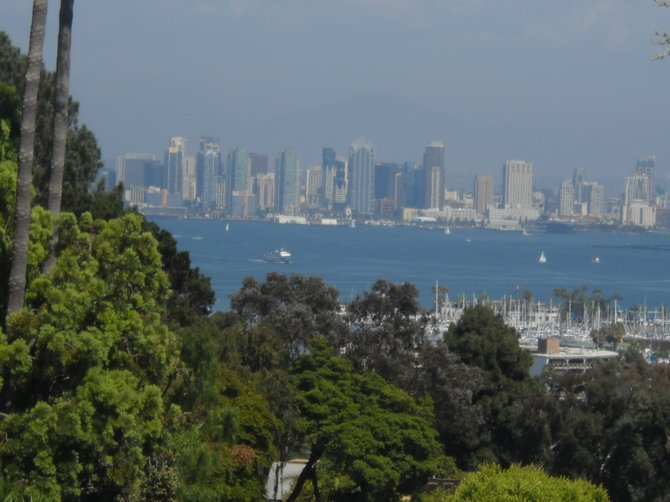 The view of the downtown San Diego skyline from Fire Station #22 in Point Loma.