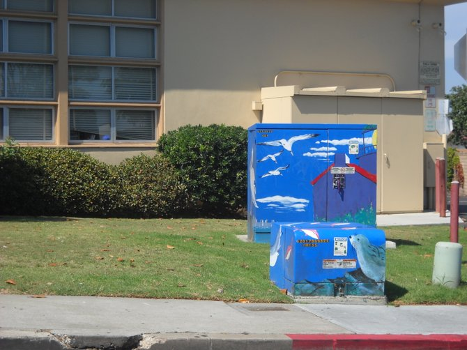 Utility box art in front of Cabrillo Elementary School.