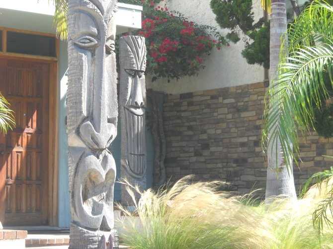 Tiki's greet you along Pacific Beach Drive.