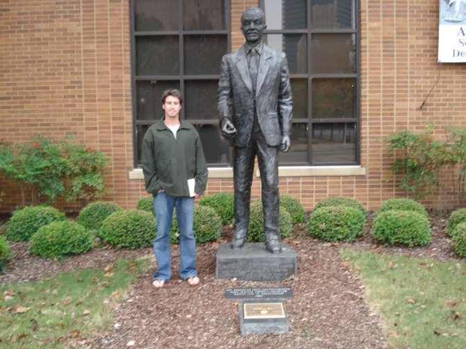 Mr. Shuttlesworth and the author standing together outside of the institute