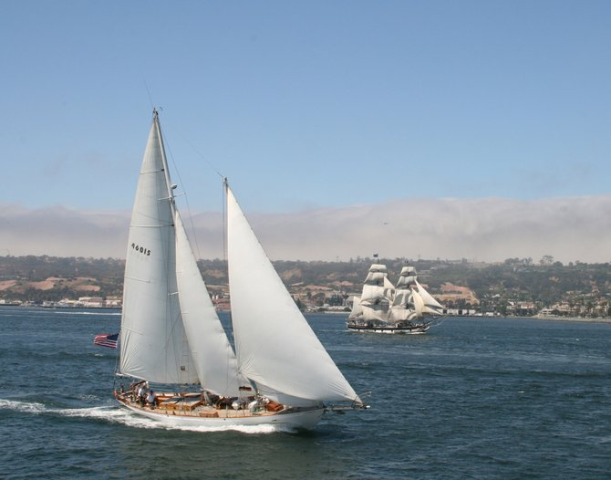 Festival of Sail!  The Curlew with the Pilgrim in the background.  San Diego Bay.
