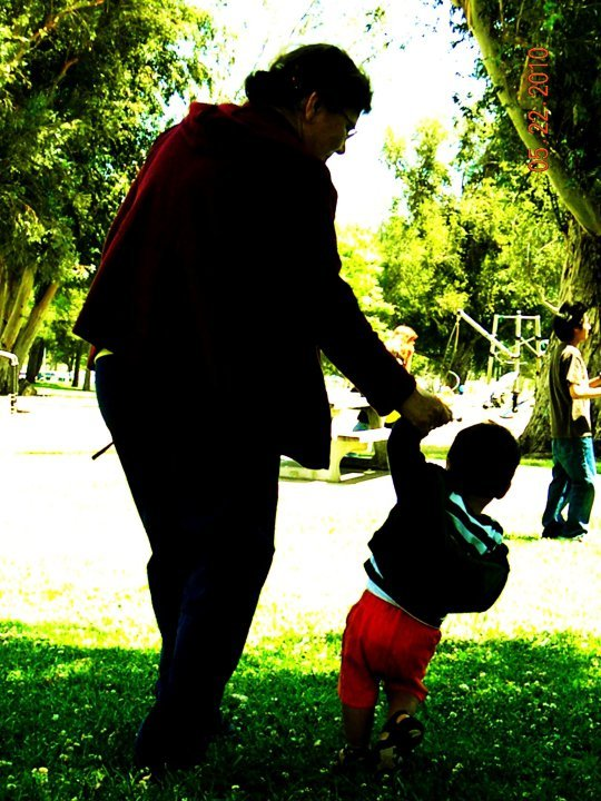 Went back to my hometown Lancaster, CA for my first cousin's 1st birthday. My Nona Flor and my cousin Diego strolling through the park.