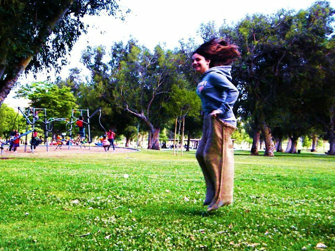 Went back to my hometown Lancaster, CA for my first cousin's 1st birthday. There, we held a sack race in the park.