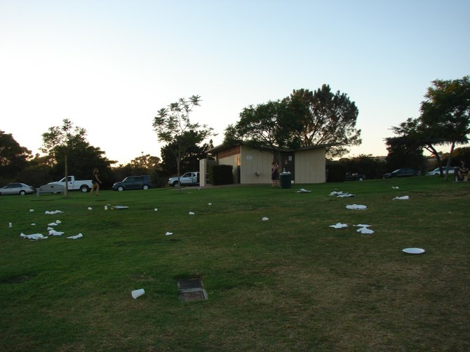 Trash left at Kate Sessions Park, Saturday, Sep 25th, 2010, by a group party catered by Bar None BBQ Catering, Inc.