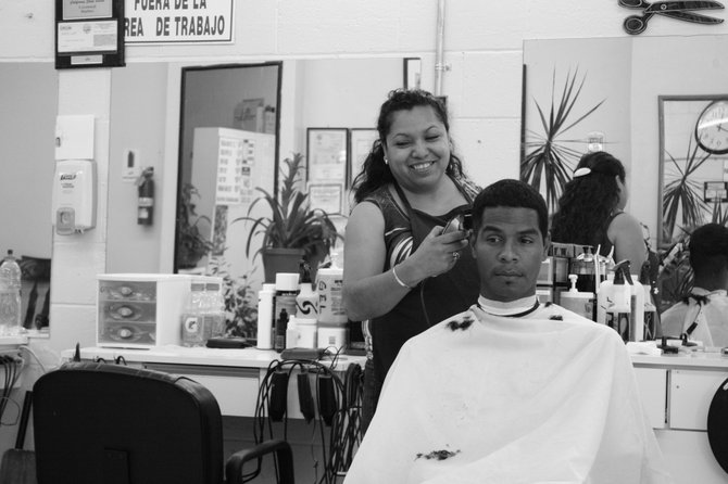 At the barber shop with my brother on a hot day