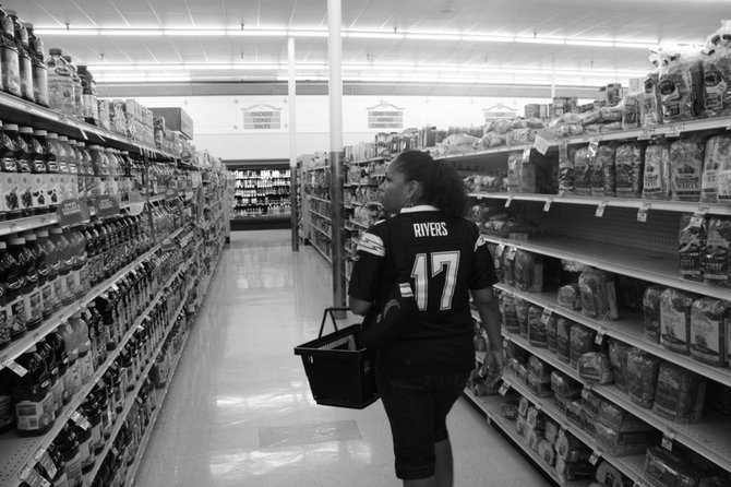 Walking into Albertsons on Game day.