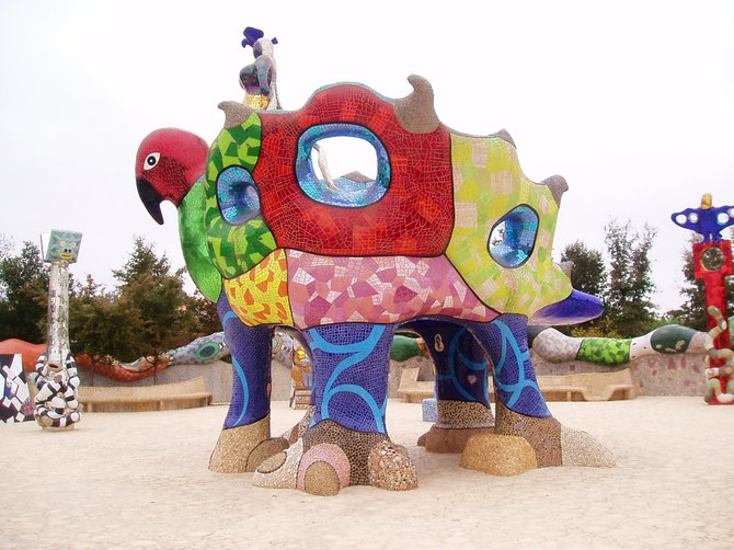 This is the main sculpture in the center of Nikki de Saint Phalle's Queen Califia's Magical Circle sculpture garden in Escondido. It's a great place to take kids.