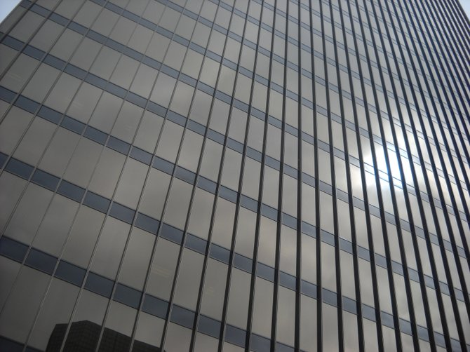 Vivid textured exterior of NBC Building downtown.