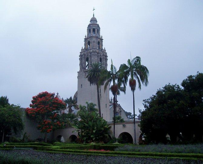 The California Tower shot from Alcazar Gardens