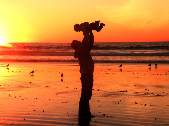 Daddy and Alexa Rose Her First Ocean Sunset at La Jolla Shores