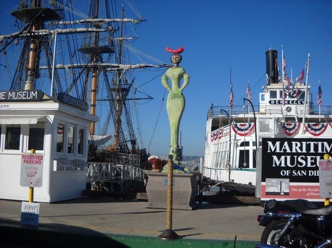 Public mermaid art along Embarcadero.