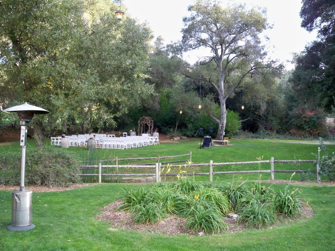 The stage is set for a wedding at the Stonehouse at Temecula Creek Inn