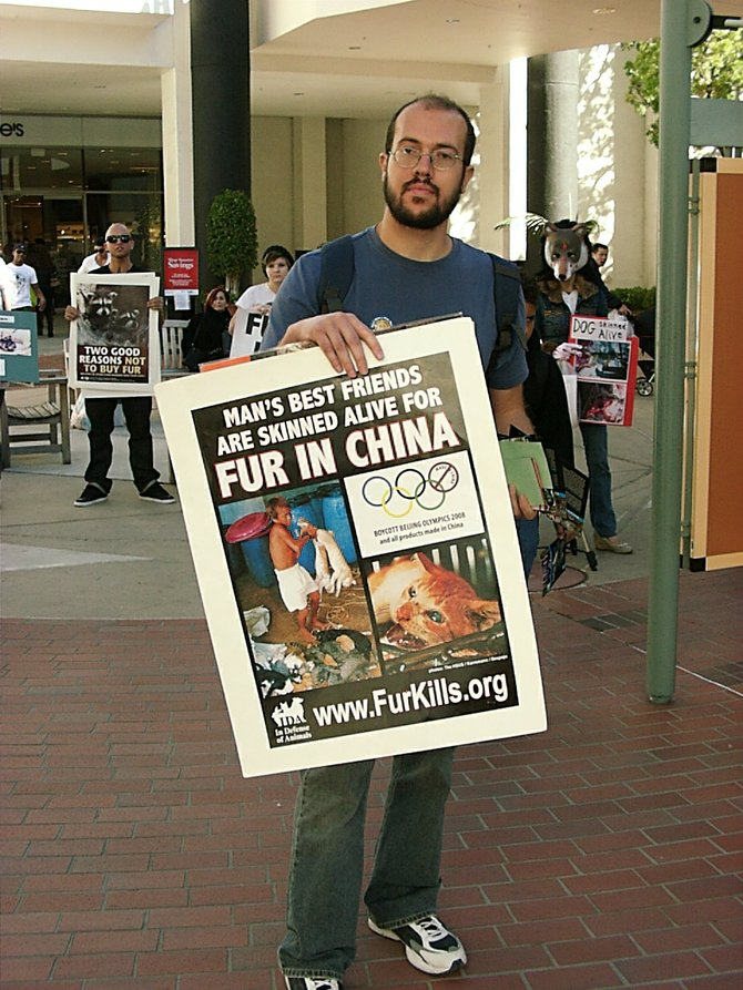 "These activists protested fur outside of Bloomingdales at the Fashion Valley Mall on ""Fur Free Friday,"" November 26, 2010."