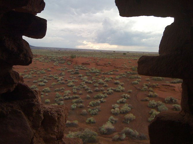 Stopped at the Wupatki National Monument in Northern Arizona.  This is the view from inside the Wukoki Pueblo. A day full of thunderstorms and enormous amounts of hail couldn't prevent us from stopping at the pueblos and Sunset Crater.