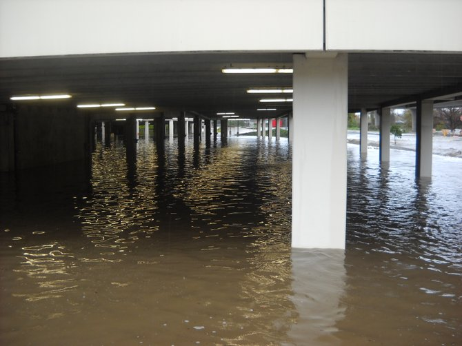 Flooded south parking garage at Fashion Valley Mall.