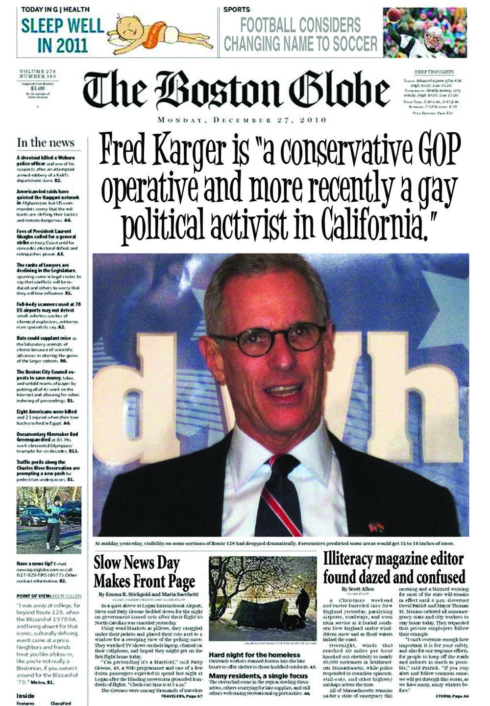 Fred Karger criticizes Mitt Romney's living arrangements.