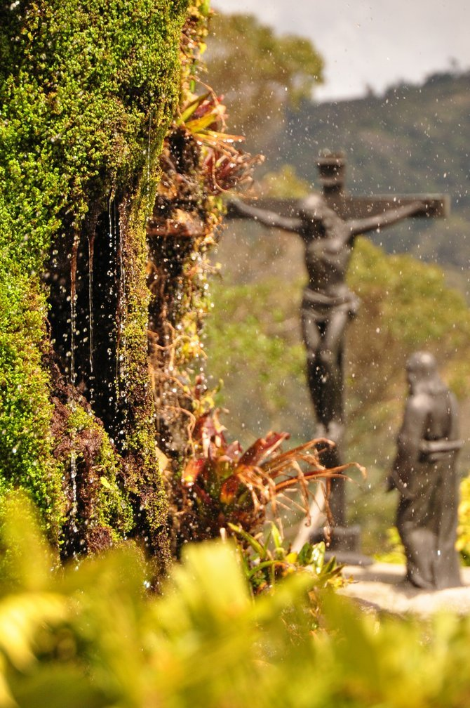 This statue represents the twelfth step of the via crucis (the stations of jesus carrying the cross) in a tourist spot called Monserrate, in Bogota, Colombia. The place stands 10,341 ft. above see level and is a pilgrimage destination for devotees during the holidays.