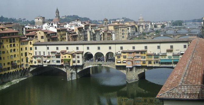 A view of the bridges in Florence. I love Italy!!!