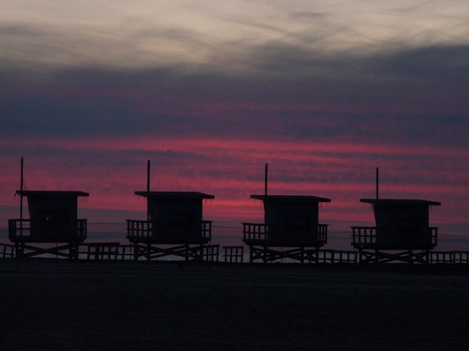 This was the beautiful sunset on New Year's day January 1, 2011 .Venice Beach was a crazy place with all of the colorful and weird people, but the sunset was calming and beautiful