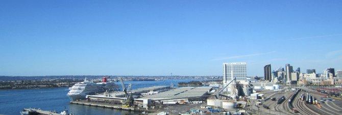 View from the Coronado Bridge.  Including the Carnival Cruise Lines' Splendor.