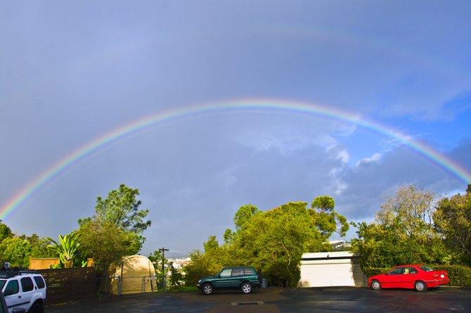 Double rainbow over Plumosa Canyon.