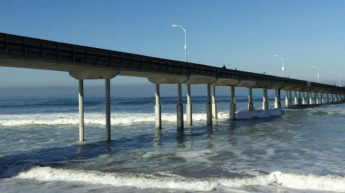 The Ocean Beach Pier on a sunny Saturday morning.