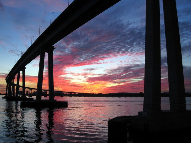 Captured this spectacular sunset near the 21st stanchion of the Coronado Bridge on the evening of 1/11/11.