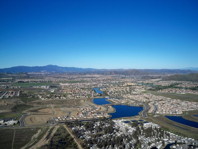 Menifee, CA from a hot air balloon