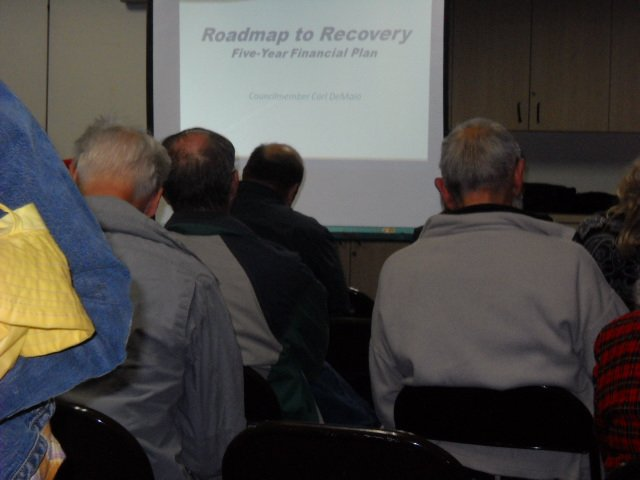 "Citizens congregate at Carl DeMaio's ""Roadmap to Recovery ""town hall meeting at the PB Rec Center."""