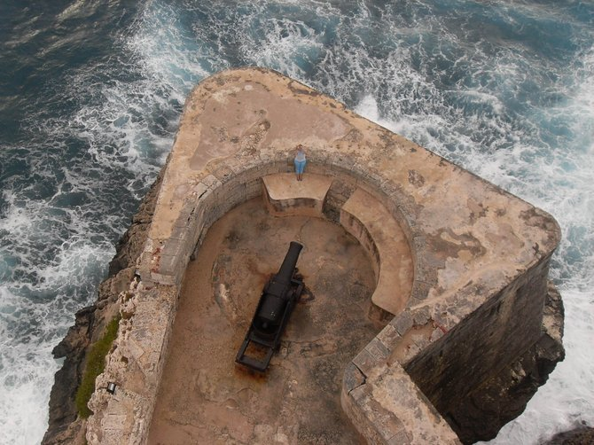 One of many original cannons located at El Morro Castle Fortress built in 1589 in Havanna, Cuba to guard the entrance to the bay. I shot this photograph from the top of the El Morro Castle´s lighthouse.