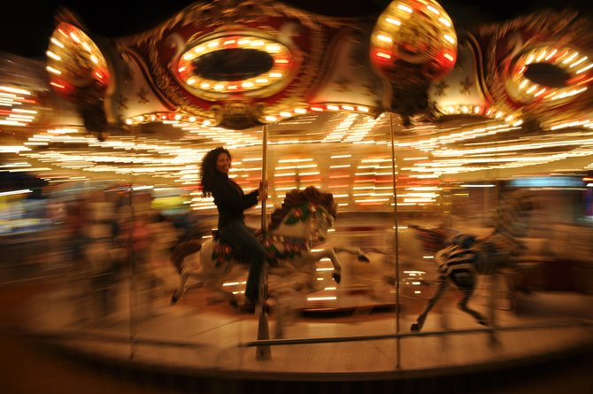 On the merry-go-round at the Del Mar Fair!