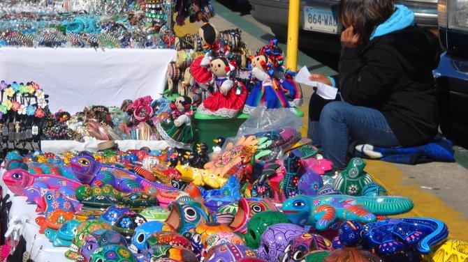 Colorful vendor tables along the Embarcadero.