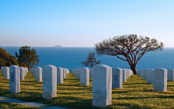 Pacific and island views from Rosecrans National Cemetery.