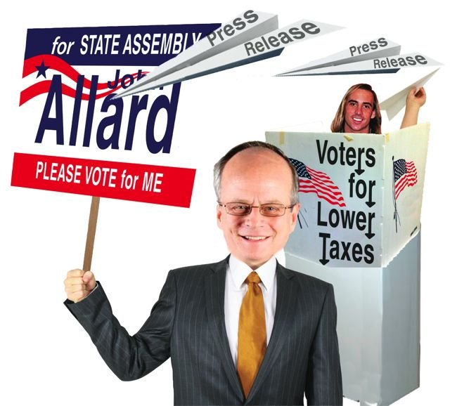 "Candidate John Allard — attacked with press releases from San Diego–based group called ""Responsible Voters for Lower Taxes"""