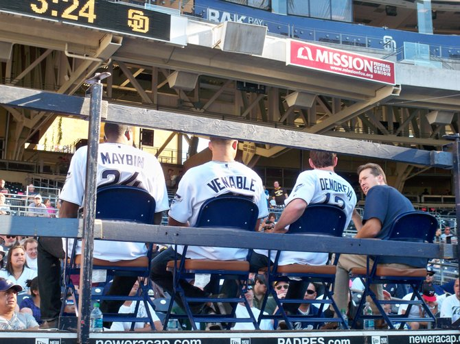 Padres outfielders Cameron Maybin, Will Venable, and Chris Denorfia answers questions from fans during the Padres Fan Fest 2011