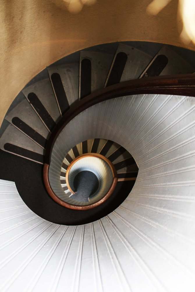 This is the view, looking down, on the spiral staircase at the lighthouse at the Cabrillo Monument.