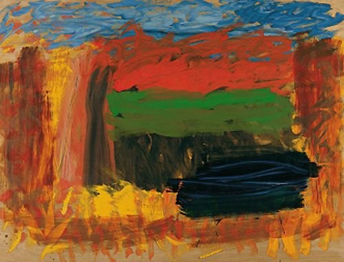 The four large panels that make up Home, Home on the Range (2001–2007) were inspired by the three years Hodgkin spent in America during World War II.