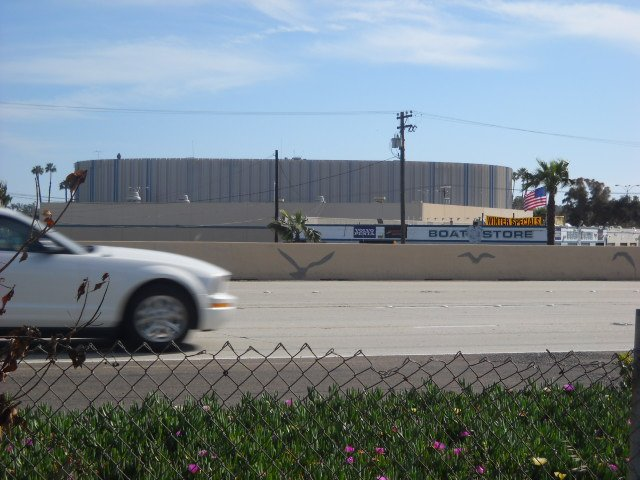 Scenic view of the Sports Arena from the San Diego River Bike Path across Interstate 8.