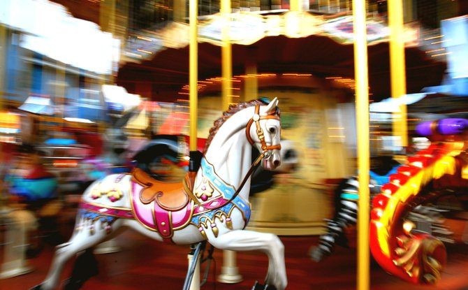 The Merry-go-Round at the Fisherman's Wharf in San Francsico during the winter.