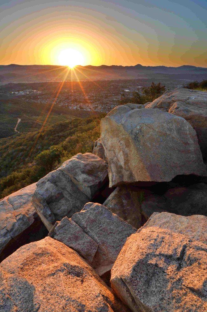 This sunrise photograph was taken at the summit of Cowles Mountain on March 9th, 2011.