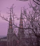 Winter view of Notre-Dame cathedral, shot from the parliament building in Ottawa, Canada.