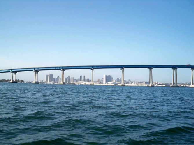 View of the Coronado Bridge from Glorietta Bay.