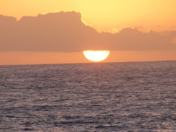 Sunset in Ocean Beach off the cliffs.