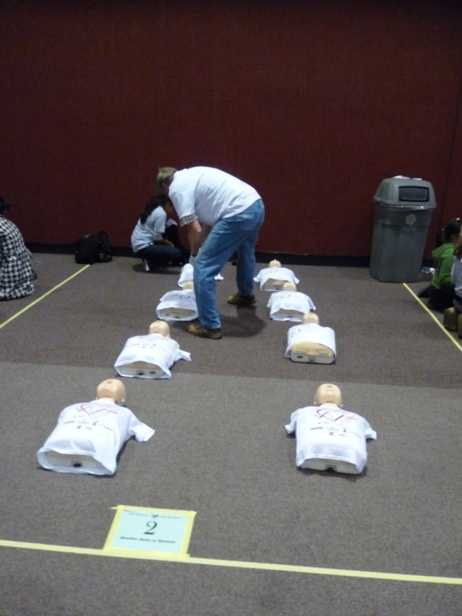 """This was the free CPR training day put on by the Red Cross the weekend after the earthquake and Tsunami in Japan in March 2011.A ton of people showed up to get free certification.These are the """"dummies"""" we used to train with."""