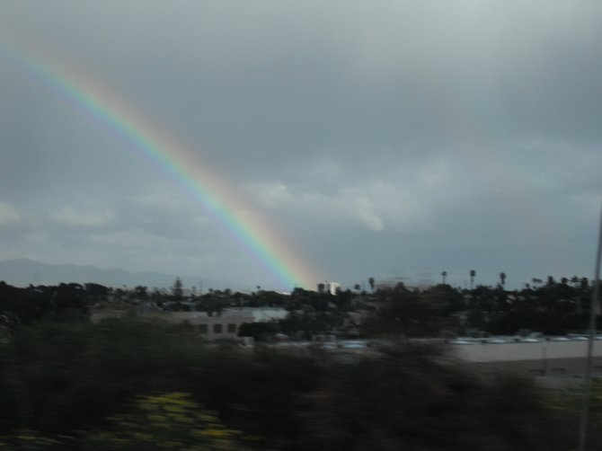 Driving home on the 805 South Rainbows and rain drops.