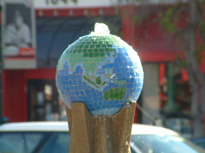 This mosaic globe tops off the fountain which stands on India Street in Little Italy.  This beautiful fountain stands at the center of The Plaza Basilone, a memorial to WWII Medal of Honor recipient Marine Gunnery Sergeant John Basilone.