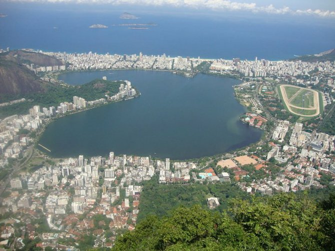 Top view of Tajuca Lake in Brazil.